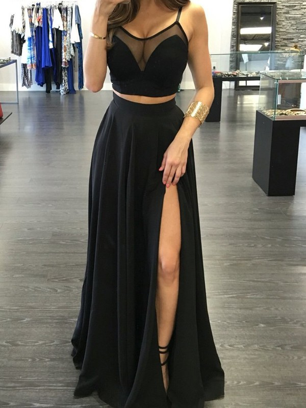 A-Line/Princess Spaghetti Straps Sleeveless Long Chiffon Two Piece Dress