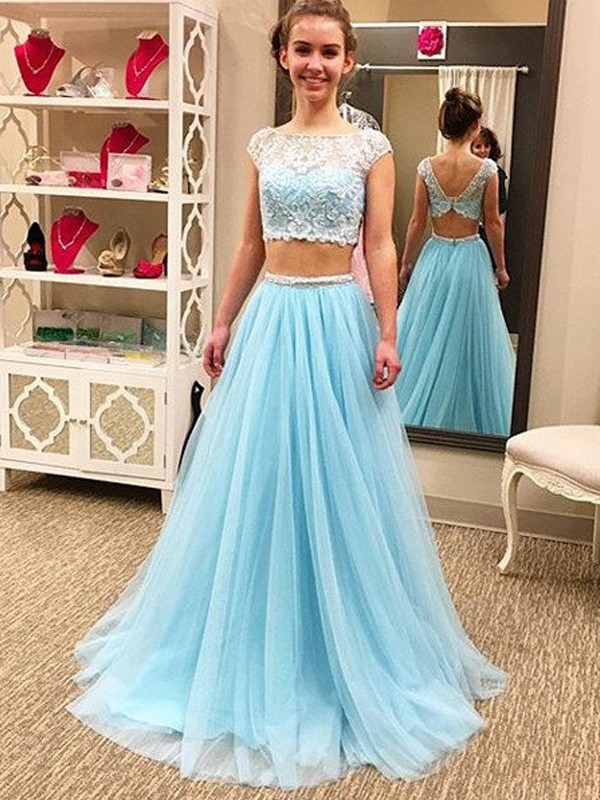 A-Line/Princess Scoop Sleeveless Long Tulle Two Piece Dress With Beading