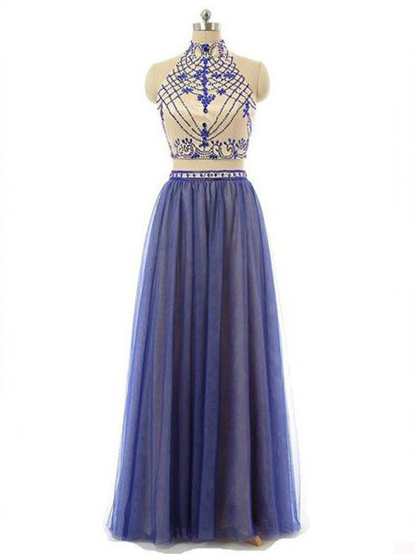 A-Line/Princess Sleeveless High Neck Chiffon Long Two Piece Dress With Beading