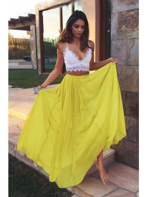 A-Line/Princess Straps Sleeveless Long Chiffon Two Piece Dress With With Lace