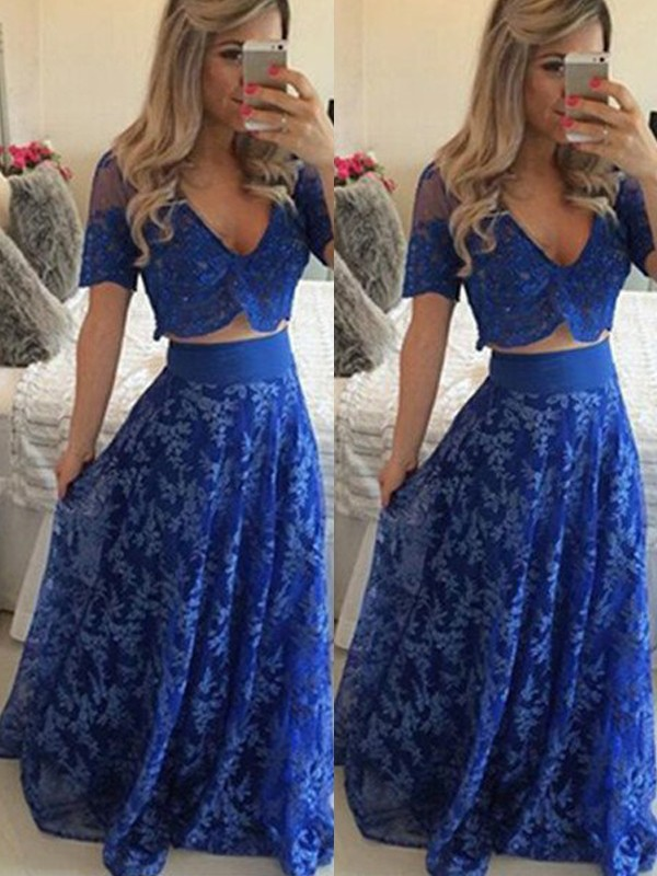 A-Line/Princess V-neck Short Sleeves Long Two Piece Dress