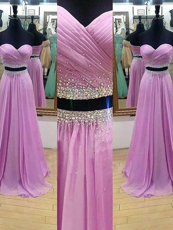 A-Line/Princess Sweetheart Sleeveless Long Chiffon Two Piece Dress With Beading