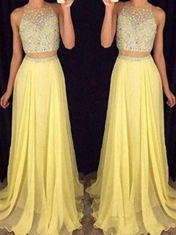 A-Line/Princess Scoop Sleeveless Long Chiffon Two Piece Dress With Beading