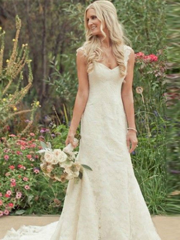 Trumpet/Mermaid Sleeveless Sweep/Brush Train V-neck Wedding Dress