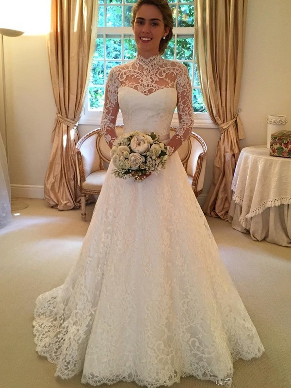 Ball Gown High Neck Long Sleeves Court Train Wedding Dress With Lace