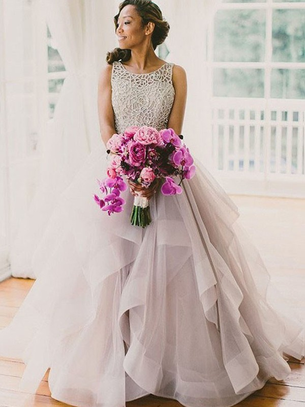 Ball Gown Sleeveless Scoop Sweep/Brush Train Tulle Wedding Dress With Beading