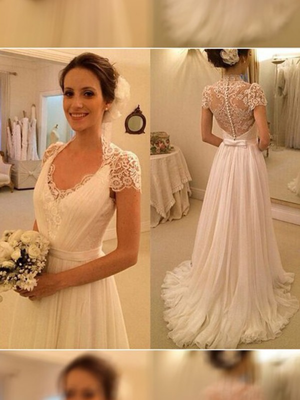 A-Line/Princess V-neck Sweep/Brush Train Sleeveless Chiffon Wedding Dress With Lace