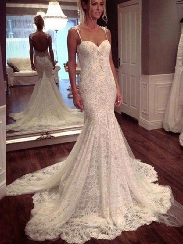 Trumpet/Mermaid Sleeveless Court Train Spaghetti Straps Wedding Dress With Lace