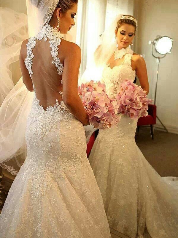 Trumpet/Mermaid High Neck Sleeveless Court Train Wedding Dress With Lace