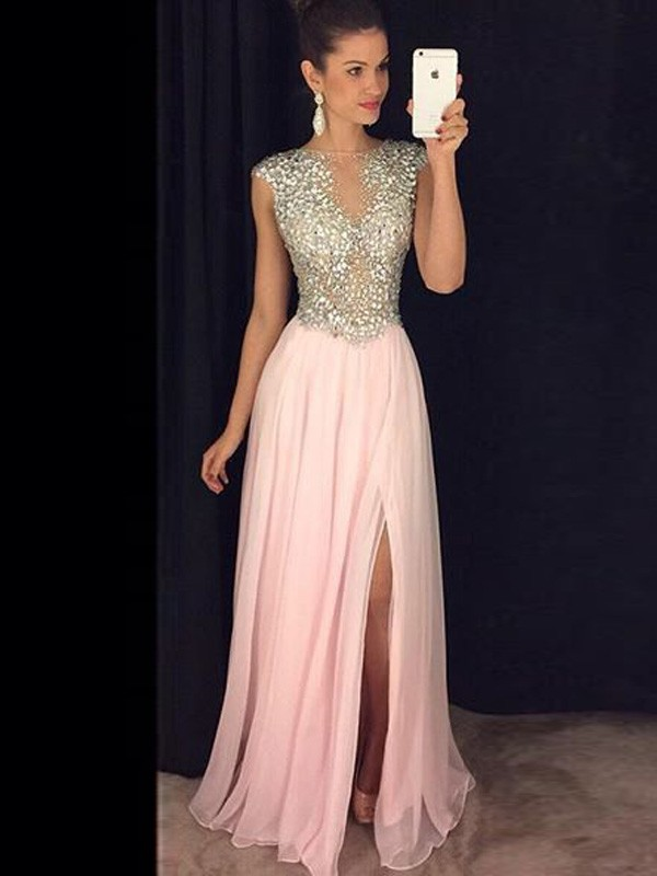 A-Line/Princess Bateau Sleeveless Sequin Chiffon Floor-Length Dresses