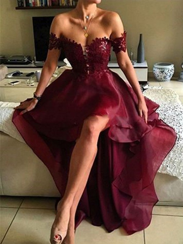 Burgundy A-Line/Princess Off-the-Shoulder Sleeveless With Applique Organza Asymmetrical Dresses