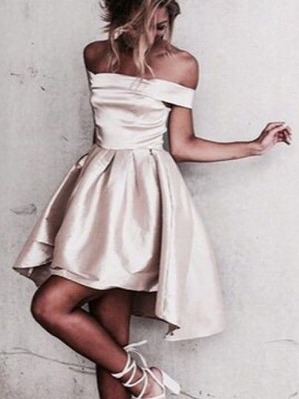 A-Line/Princess Off-the-Shoulder Sleeveless Short Satin Dresses