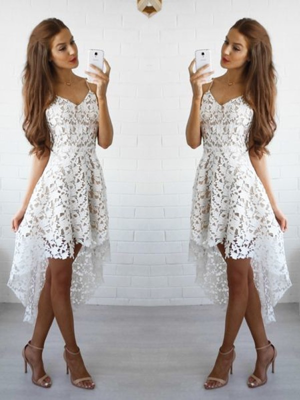 A-Line/Princess Spaghetti Straps Sleeveless Lace Short Dresses