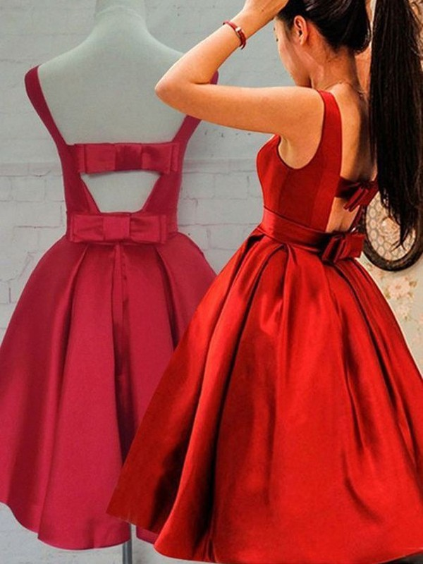 A-Line/Princess Sleeveless Scoop Sash/Ribbon/Belt Satin Short/Mini Dresses