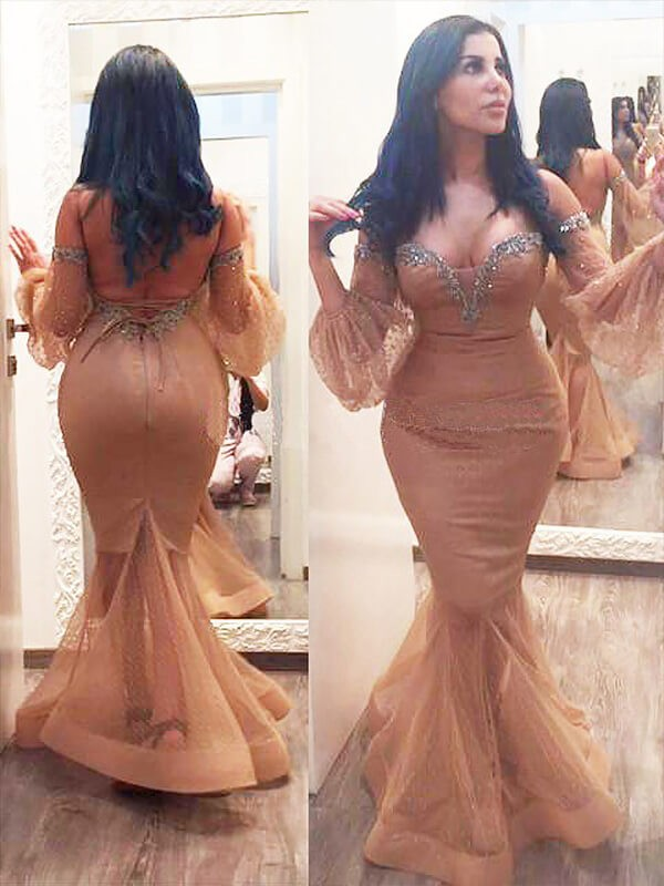 Trumpet/Mermaid 3/4 Sleeves Silk like Satin Off-the-shoulder Long Plus Size Dress With Beading