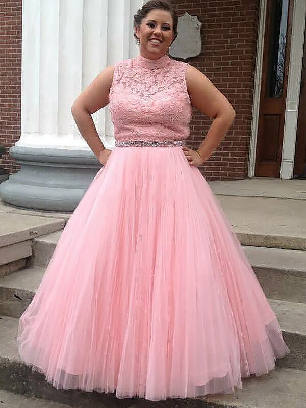 Ball Gown High Neck Tulle Sleeveless Long Plus Size Dress With Applique