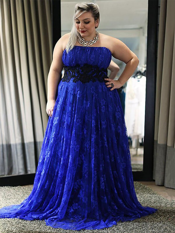A-Line/Princess Sleeveless Strapless Applique Long Plus Size Dress With Lace