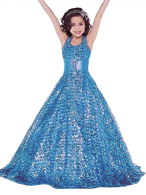 Ball Gown Halter Sleeveless Floor-Length Sequins Flower Girl Dresses