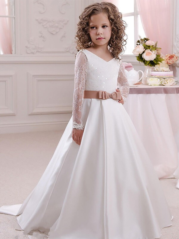 Ball Gown V-neck Long Sleeves Lace Floor-Length Satin Flower Girl Dresses