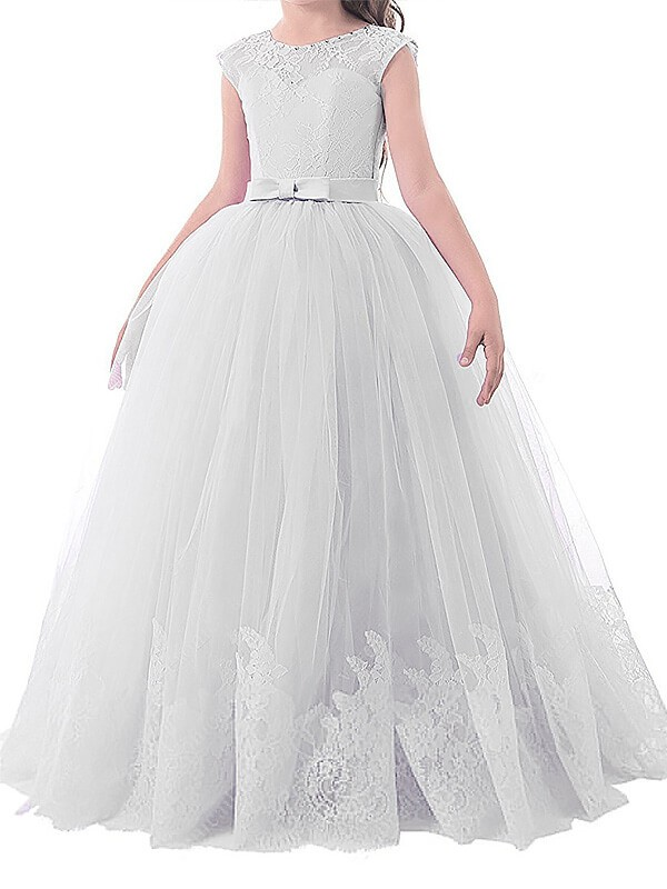 Ball Gown Jewel Sleeveless Bowknot Floor-Length Tulle Flower Girl Dresses