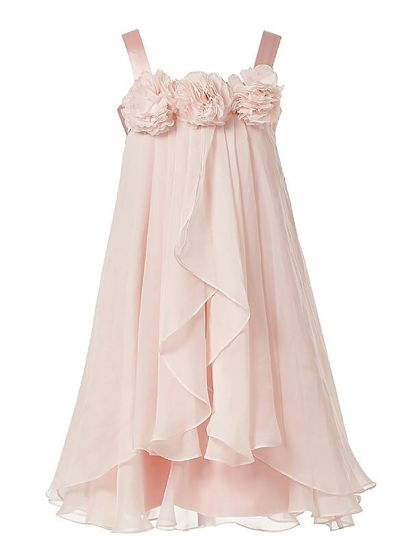 A-Line/Princess Sleeveless Straps Hand-Made Flower Chiffon Tea-Length Flower Girl Dresses