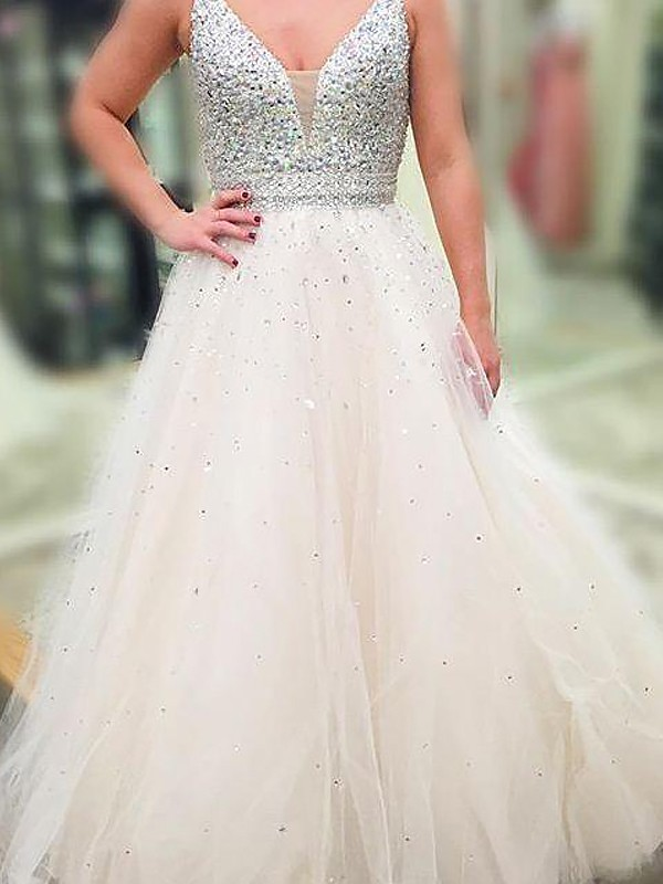 A-Line/Princess V-neck Sleeveless Floor-Length Beading Tulle Dresses