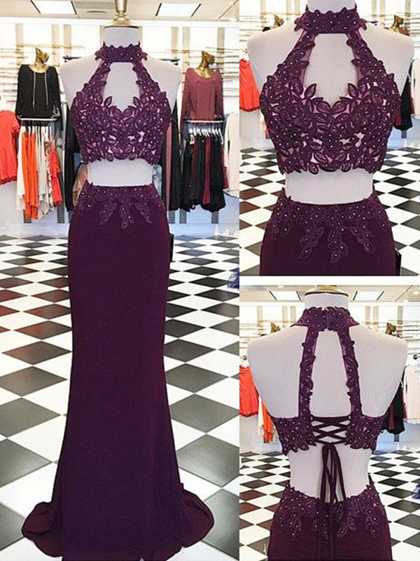 Burgundy Sheath/Column Halter Floor-Length Sleeveless With Applique Spandex Dresses