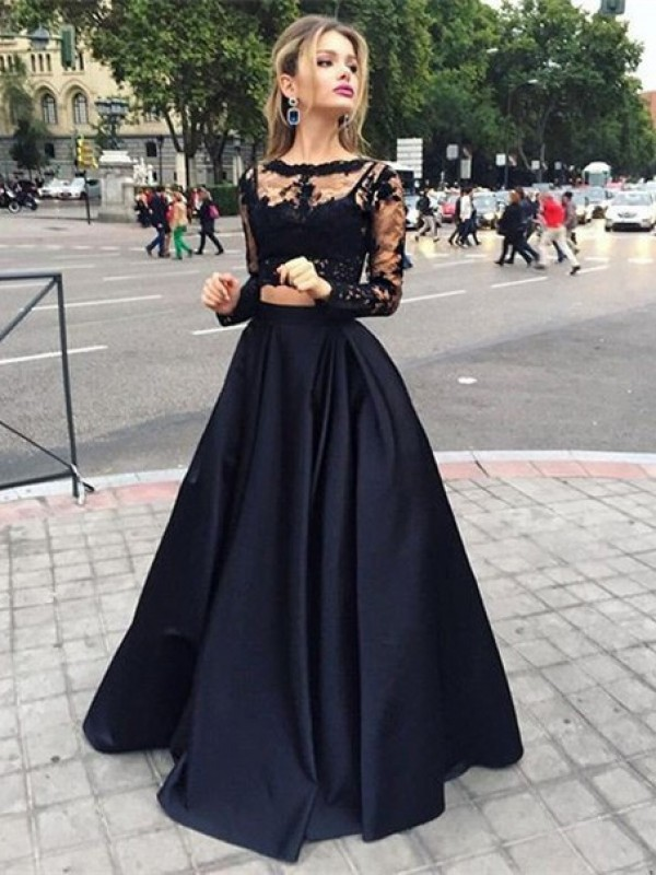 Elegant Ball Gown Long Sleeves Bateau Satin Floor-Length Dresses