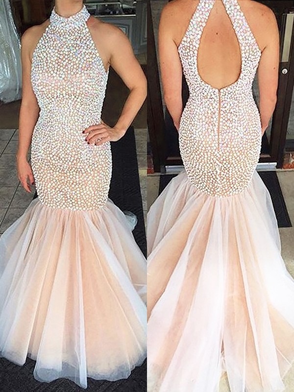 Pearl Pink Trumpet/Mermaid Halter Sweep/Brush Train Sleeveless With Beading Tulle Dresses