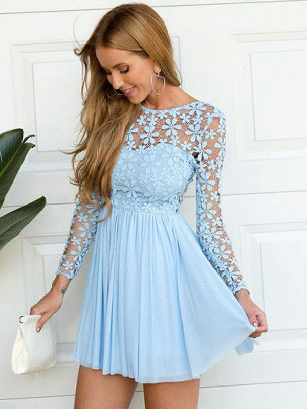 Blue A-Line/Princess Scoop Long Sleeves Lace Chiffon Short Dresses