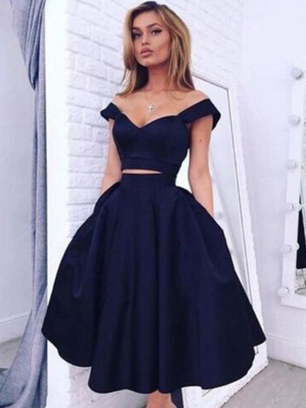 A-Line Off-the-Shoulder Sleeveless Tea-Length Satin Dresses