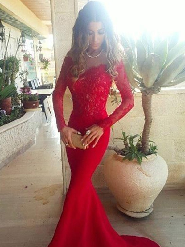 Trumpet/Mermaid Off-the-Shoulder Long Sleeves Sweep/Brush Train Satin Dress With With Lace