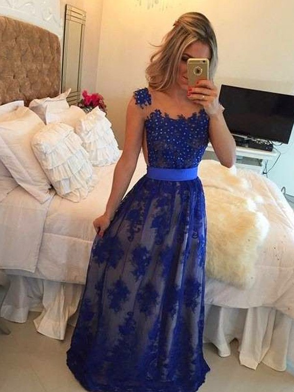 Sheath/Column Scoop Sleeveless Long Tulle Dress With Appliques