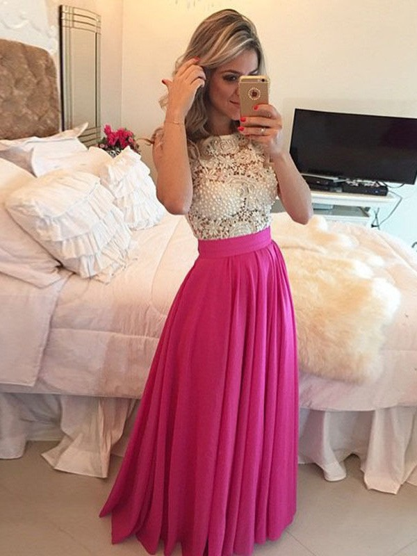 A-Line/Princess Scoop Sleeveless Long Chiffon Dress With With Lace