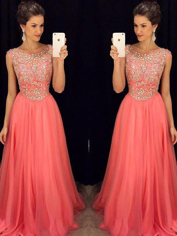 A-Line/Princess Scoop Sleeveless Long Chiffon Dress With Beading