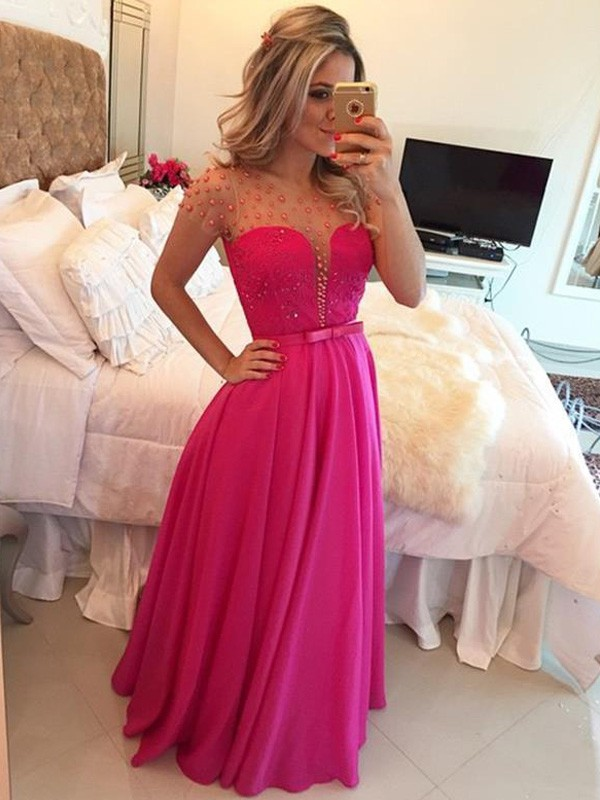 A-Line/Princess Scoop Short Sleeves Long Chiffon Dress With Beading