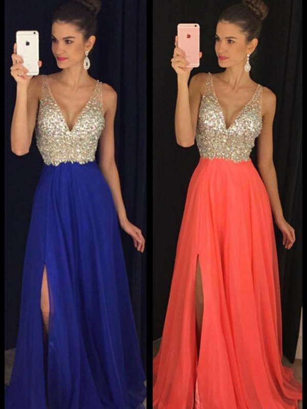 A-Line/Princess V-neck Sleeveless Long Chiffon Dress With Beading