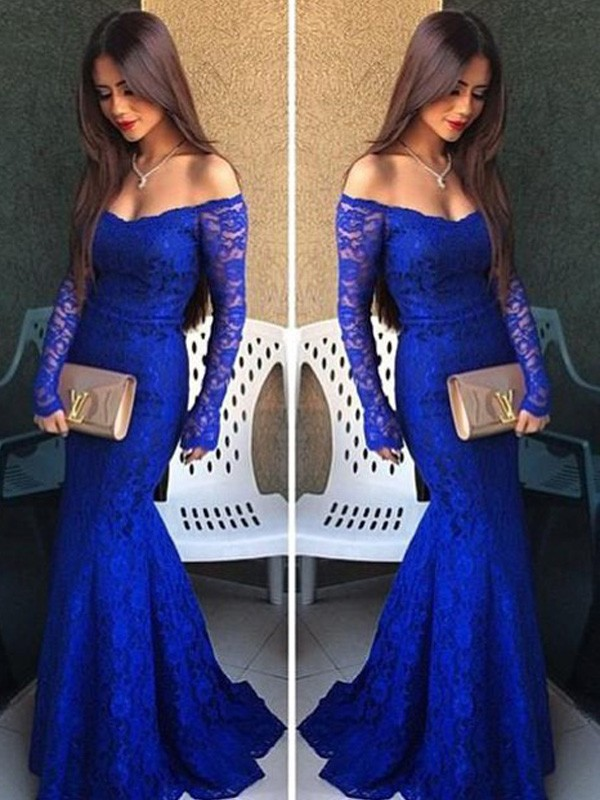 Trumpet/Mermaid Off-the-Shoulder Long Sleeves Dress With With Lace