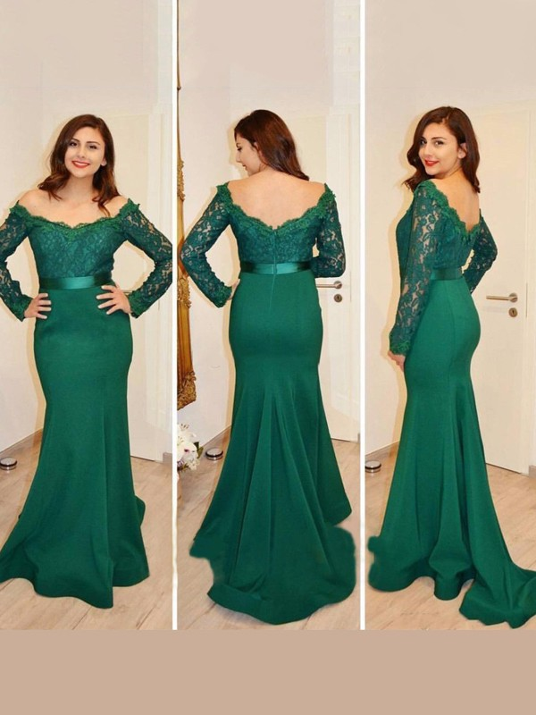 Trumpet/Mermaid Off-the-Shoulder Long Sleeves Satin Dress With Appliques