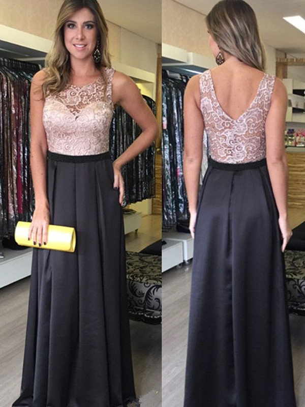 A-Line/Princess Scoop Sleeveless Long Satin Dress With With Lace