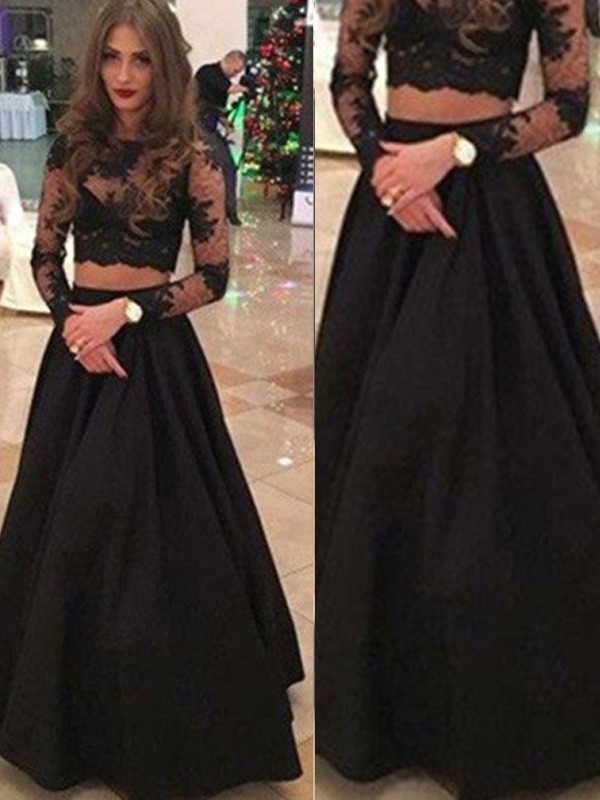 A-Line/Princess Long Sleeves Scoop Long Dress With With Lace