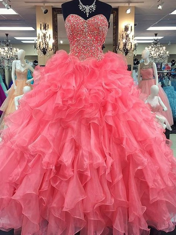 Ball Gown Sweetheart Sleeveless Long Organza Dress With Beading