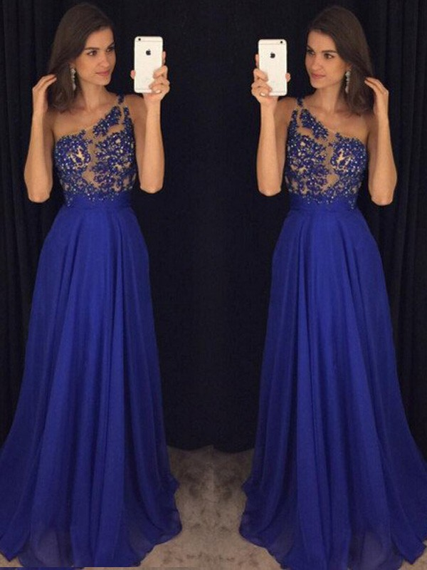 A-Line/Princess Sleeveless One-Shoulder Long Chiffon Dress With Beading
