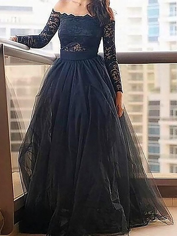 A-Line/Princess Off-the-Shoulder Long Sleeves Tulle Dress With With Lace