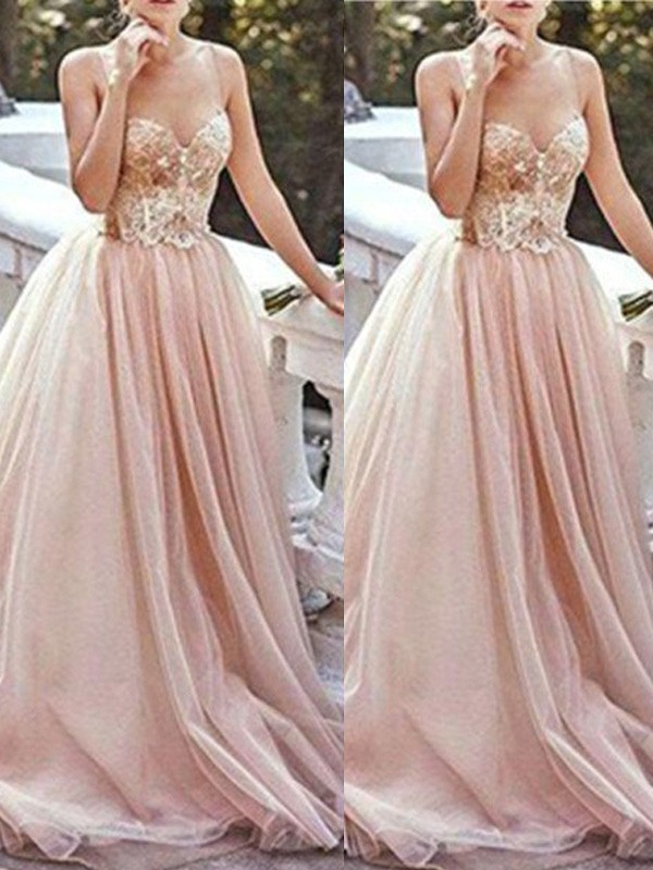 A-Line/Princess Sweetheart Sleeveless Sweep/Brush Train Tulle Dress With Beading