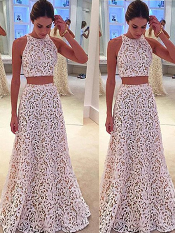 A-Line/Princess Scoop Sleeveless Long Dress With With Lace