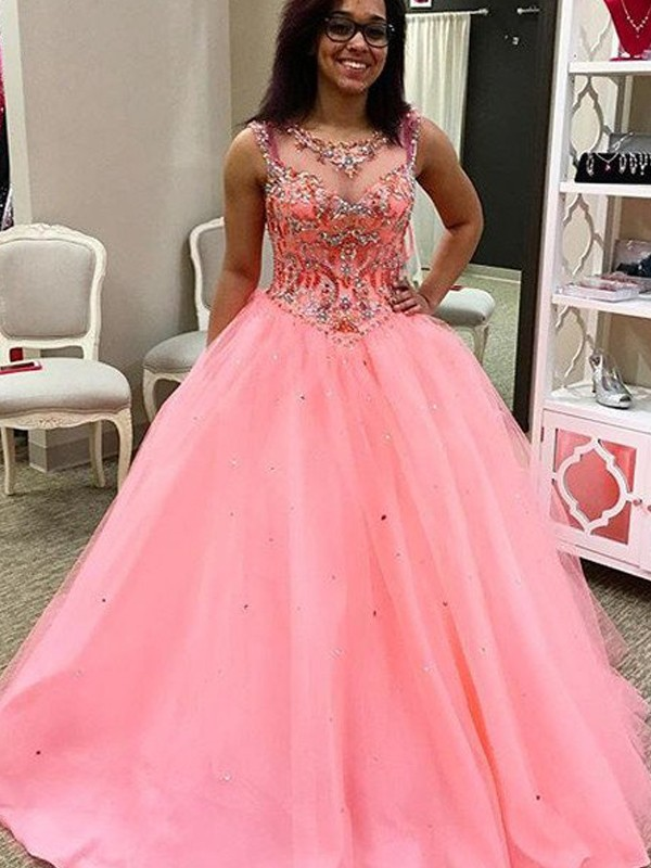 Ball Gown Sweetheart Sleeveless Tulle Long Dress With Beading