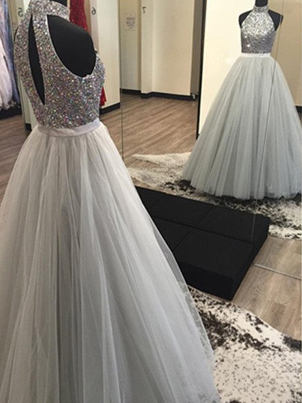 A-Line/Princess Halter Sleeveless Long Tulle Dress With Beading