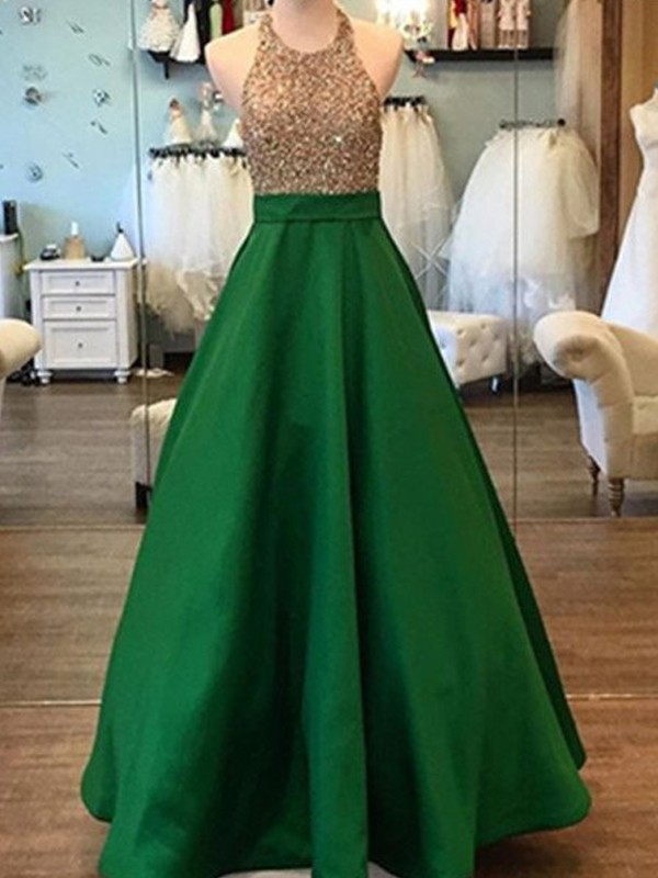 A-Line/Princess Sleeveless Long Halter Satin Dress With Beading