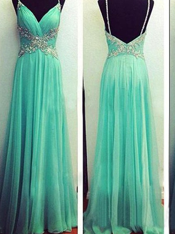 A-Line/Princess Spaghetti Straps Sleeveless Long Chiffon Dress With Beading